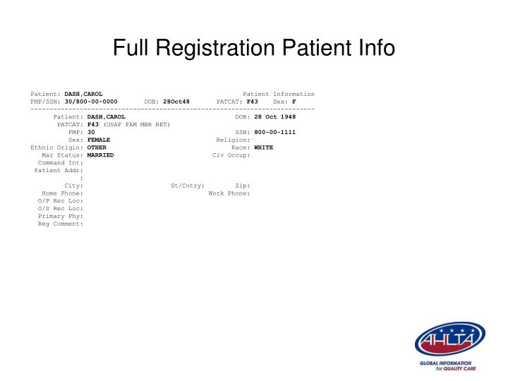 Full Registration Patient Info