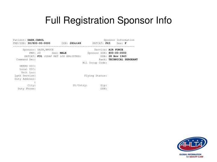 Full Registration Sponsor Info