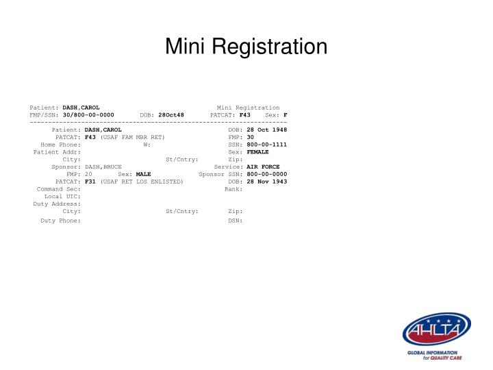 Mini Registration