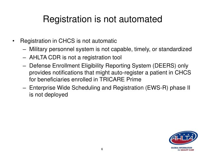 Registration is not automated