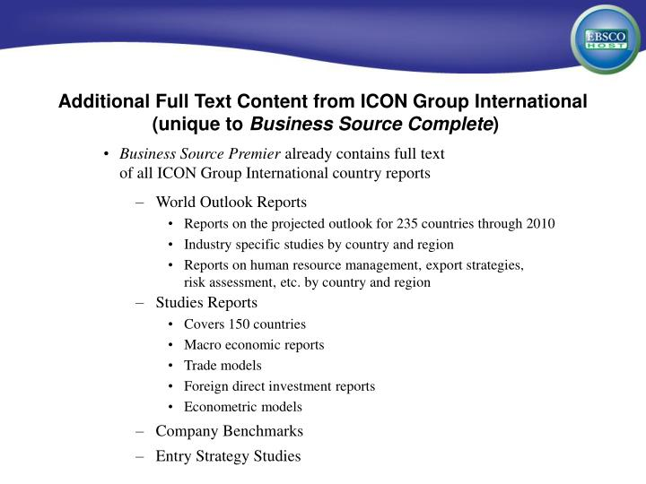 Additional Full Text Content from ICON Group International