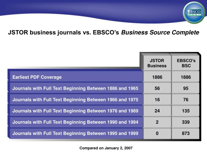 JSTOR business journals vs. EBSCO's