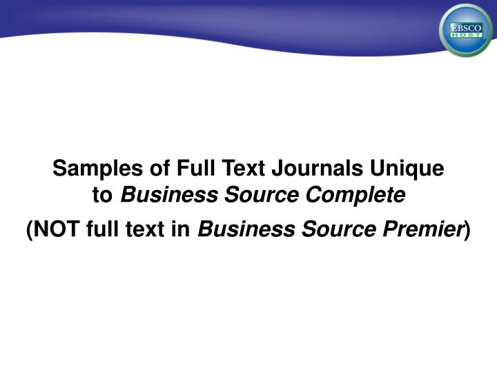 Samples of Full Text Journals Unique
