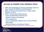 access to health care matters here