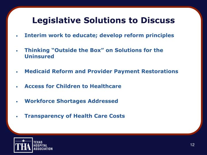 Legislative Solutions to Discuss