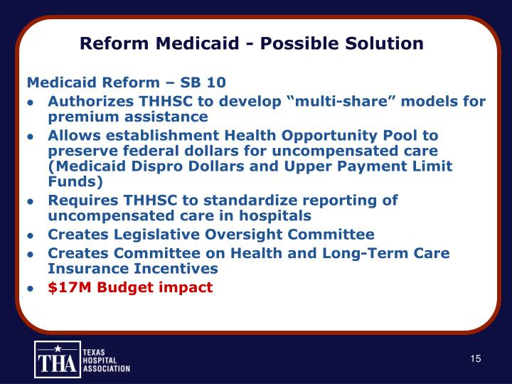 Reform Medicaid - Possible Solution