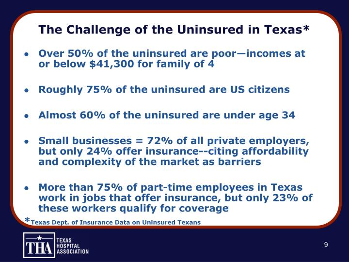 The Challenge of the Uninsured in Texas*