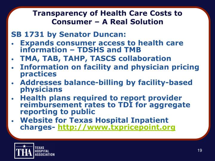 Transparency of Health Care Costs to Consumer – A Real Solution