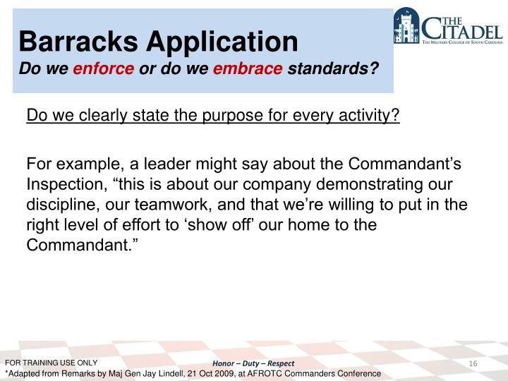 Barracks Application