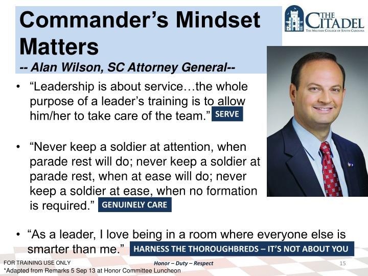 Commander's Mindset Matters