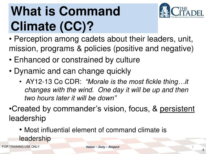What is Command Climate (CC)?
