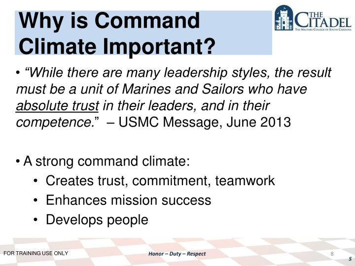 Why is Command Climate Important?