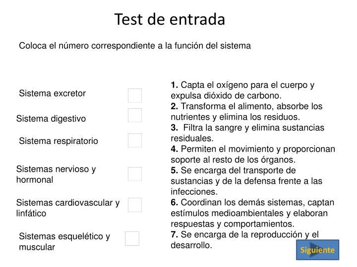 Test de entrada