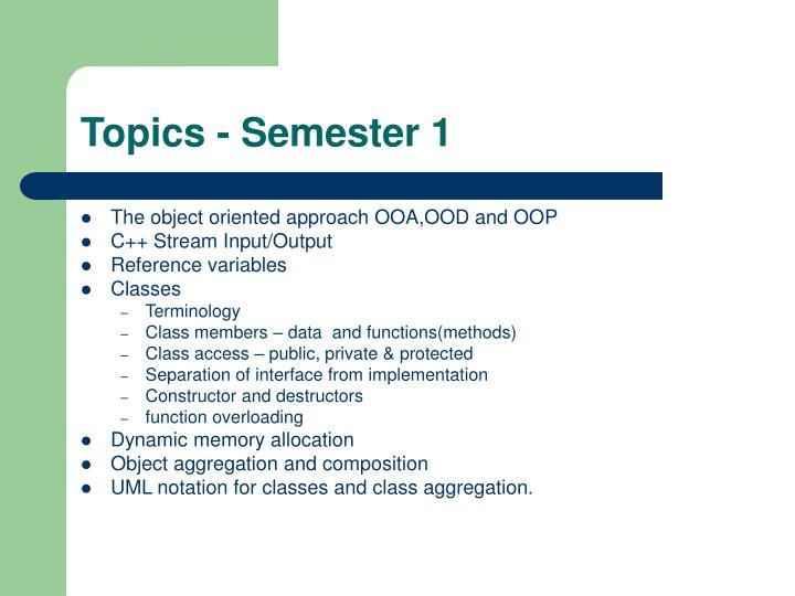 Topics - Semester 1