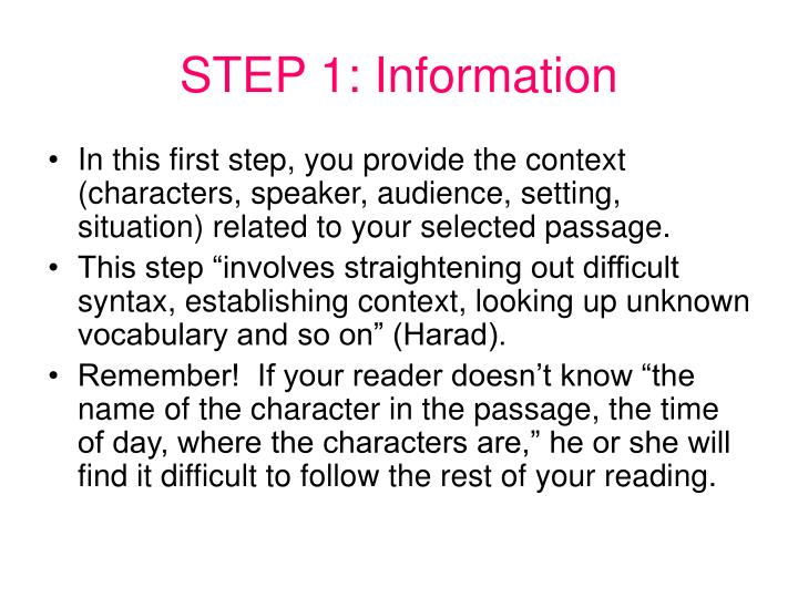 STEP 1: Information