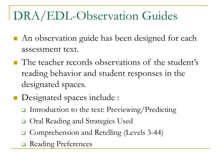 DRA/EDL-Observation Guides