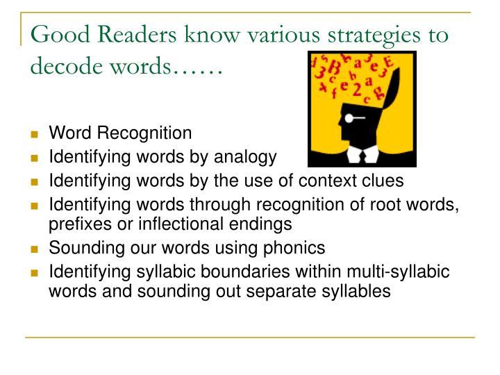 Good Readers know various strategies to decode words……