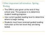 other important information spring testing