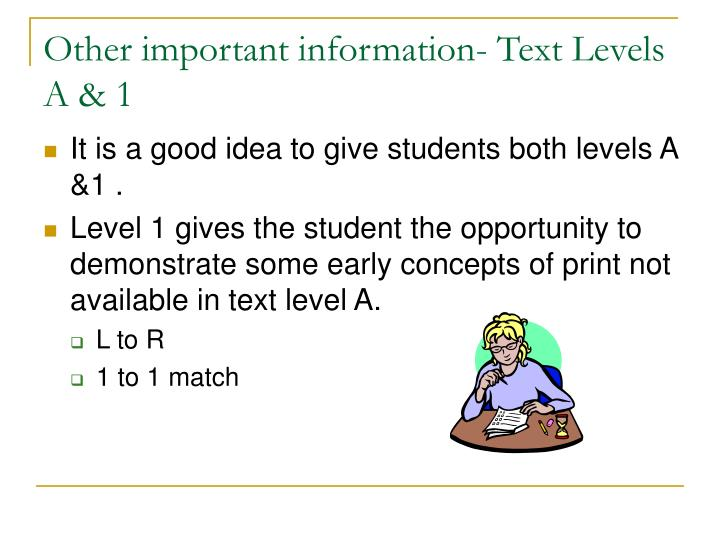 Other important information- Text Levels A & 1