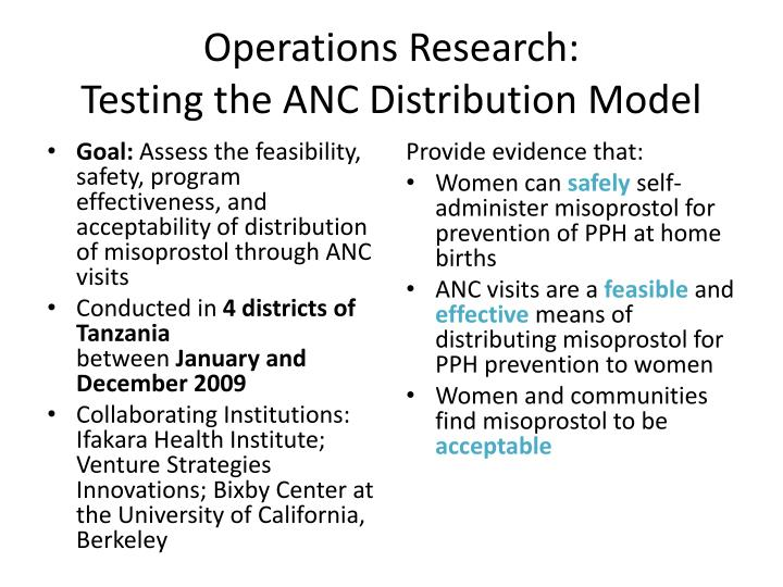 Operations research testing the anc distribution model