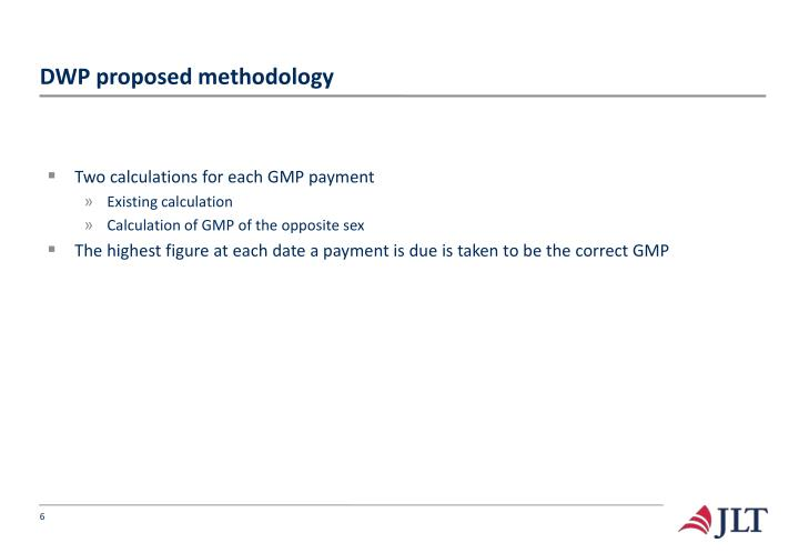 DWP proposed methodology