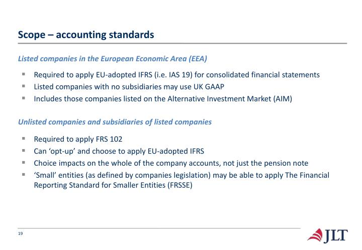 Scope – accounting standards