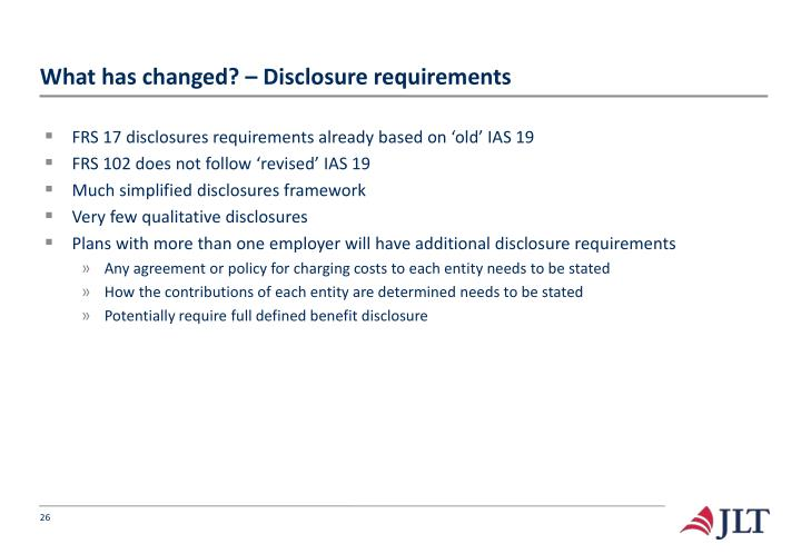 What has changed? – Disclosure requirements