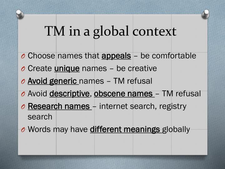 TM in a global context
