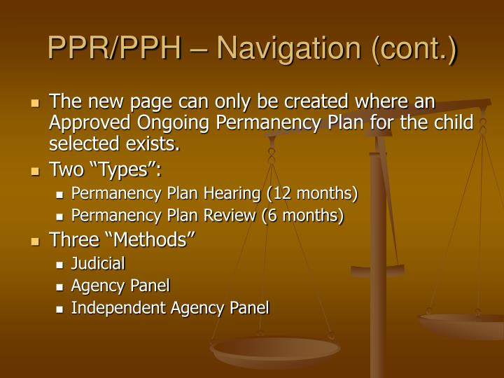 PPR/PPH – Navigation (cont.)