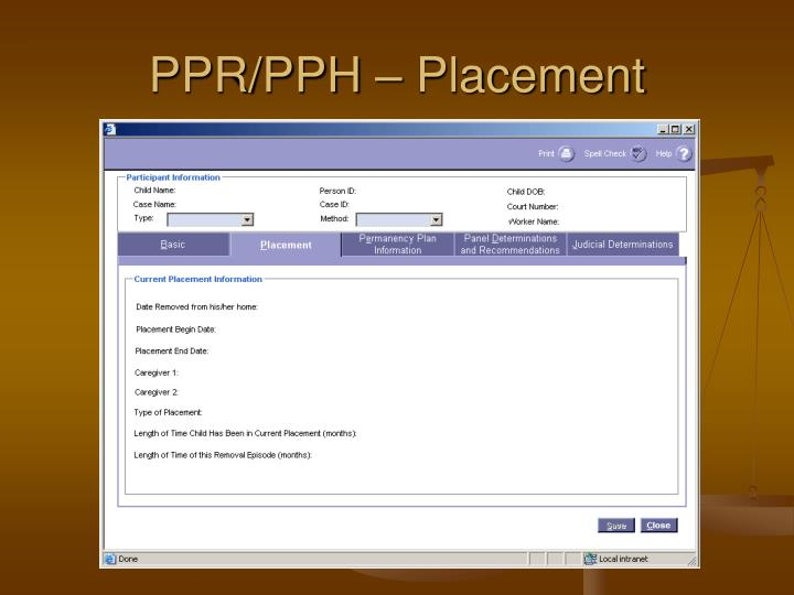 PPR/PPH – Placement