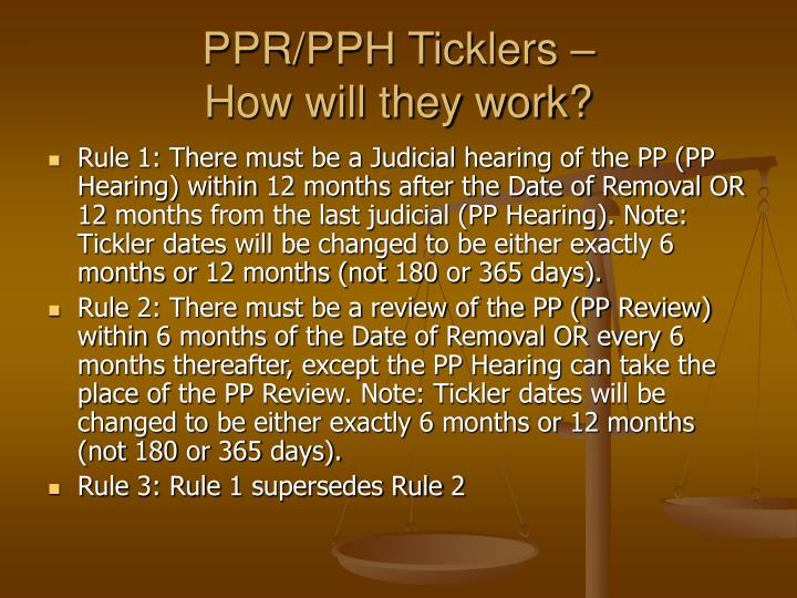 PPR/PPH Ticklers –