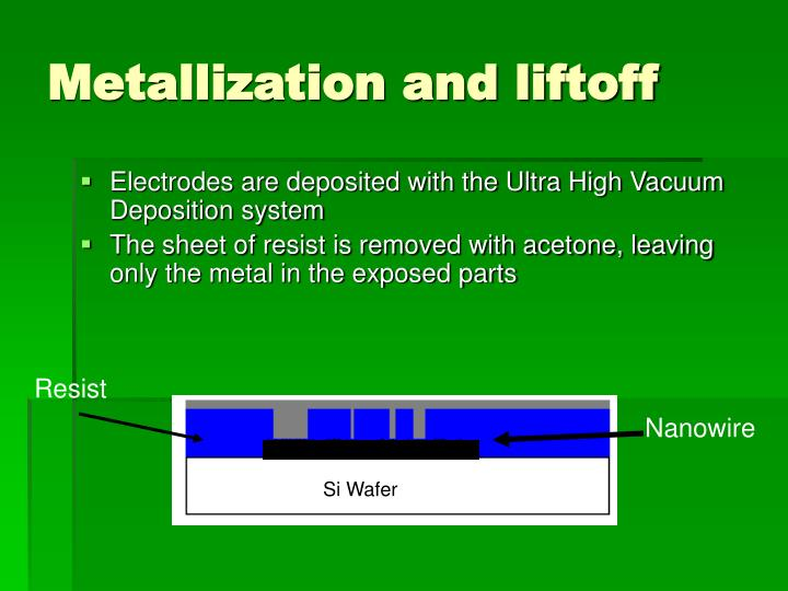 Metallization and liftoff