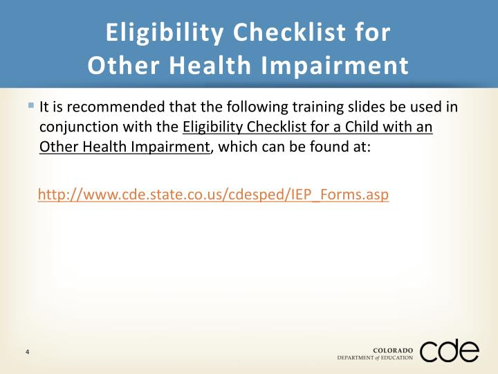 Eligibility Checklist for