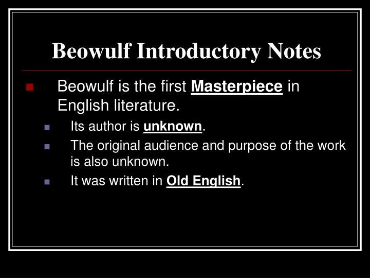 Beowulf Introductory Notes