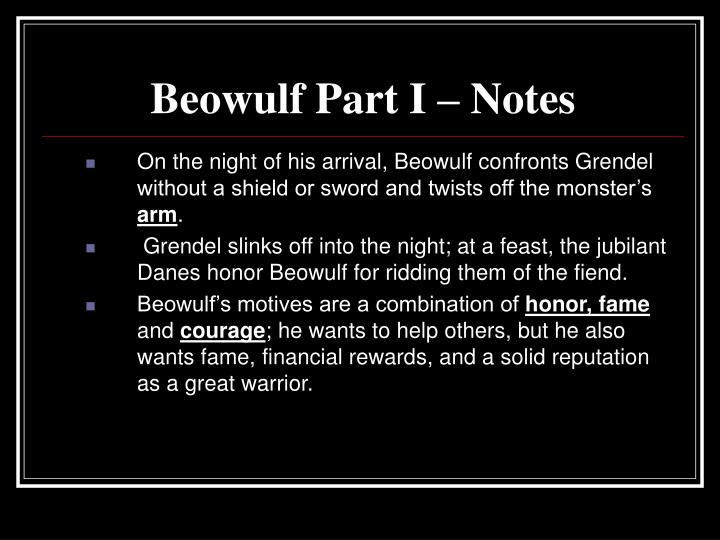 Beowulf Part I – Notes