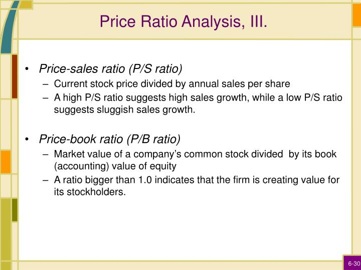Price Ratio Analysis, III.