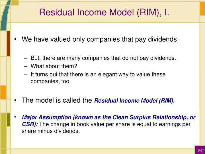 Residual Income Model (RIM), I.