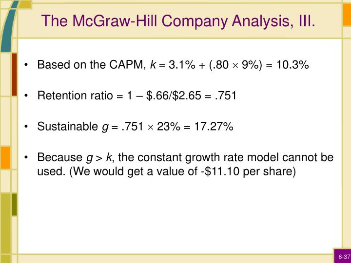 The McGraw-Hill Company Analysis, III.