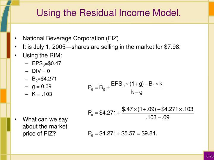 Using the Residual Income Model.