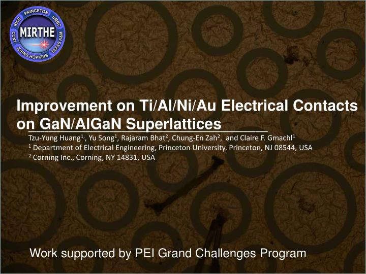 Improvement on ti al ni au electrical contacts on gan algan superlattices