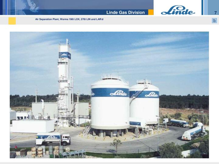 Air Separation Plant, Worms 190t LOX, 270t LIN und L