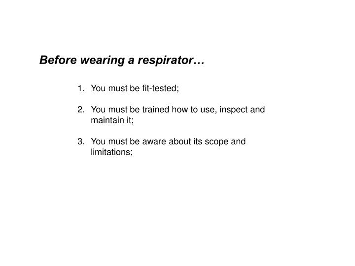 Before wearing a respirator…