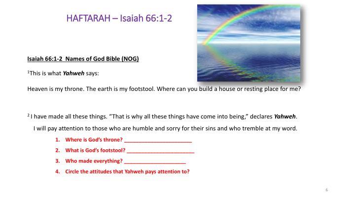 HAFTARAH – Isaiah 66:1-2