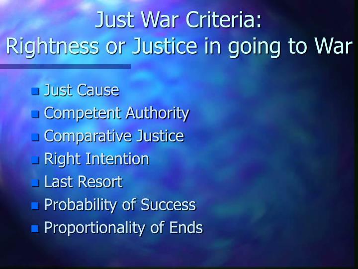 Just War Criteria: