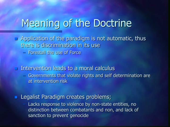 Meaning of the Doctrine