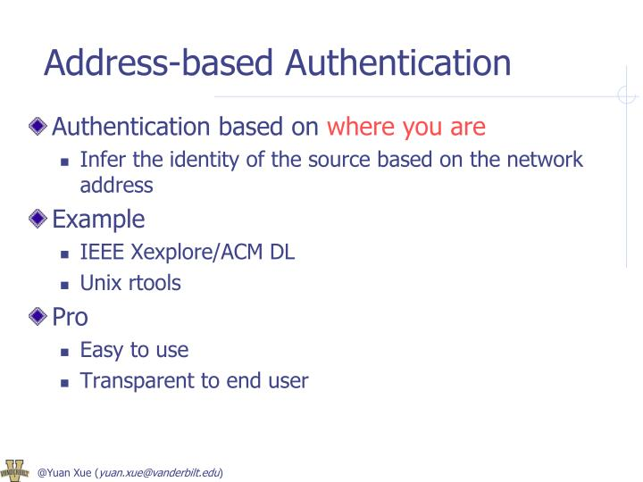 Address-based Authentication