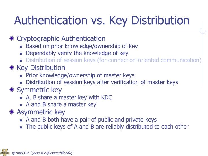 Authentication vs. Key Distribution