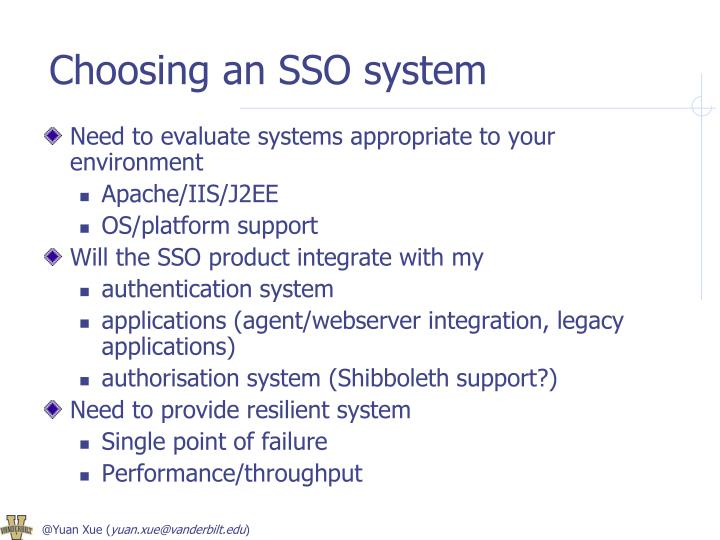 Choosing an SSO system