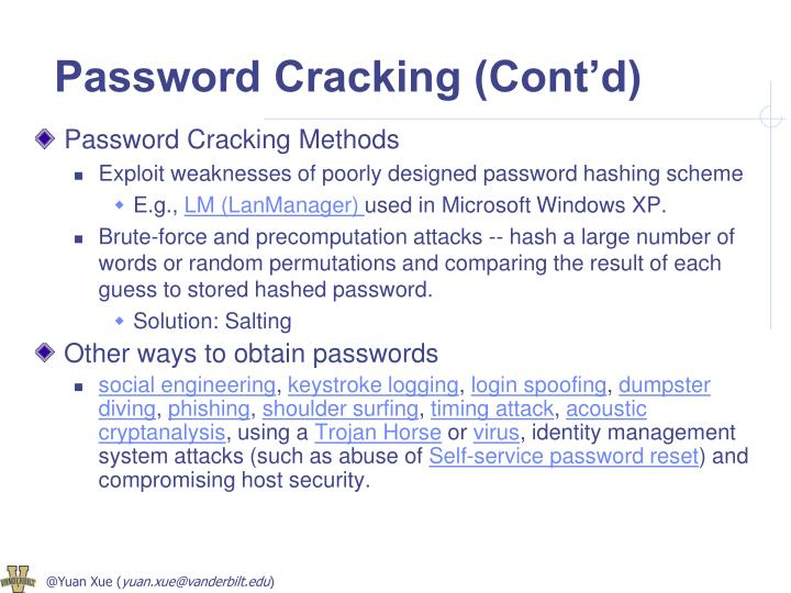 Password Cracking (Cont'd)