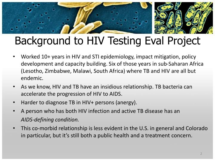 Background to HIV Testing Eval Project
